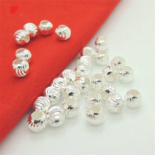 Multi Faceted 6mm Sterling Silver Infinite Pattern Round Spacer beads (Large Hole ~2.6mm) for Jewelry Craft Making Findings
