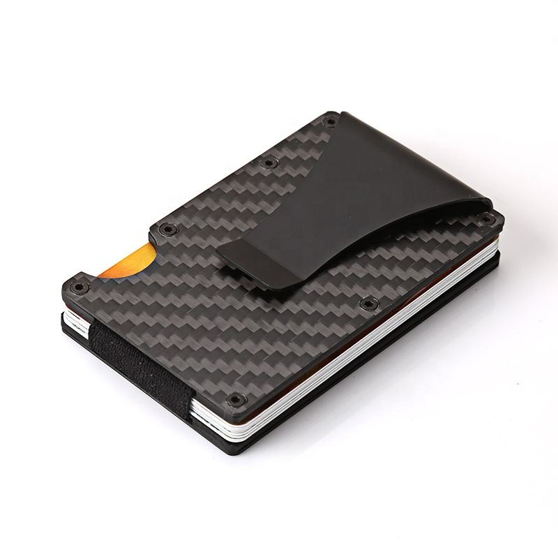 Heren Kleine Ultra Dunne Credit Holder Rfid Blocking Carbon Fiber Portemonnee Kaart Portemonnee