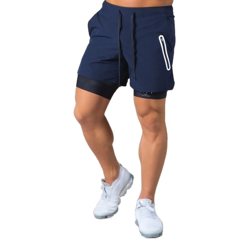 2021 New design anti emptied training workout sweat shorts custom two layers gym shorts for men