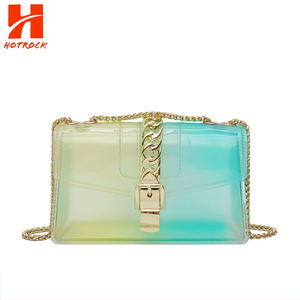 2020 Custom Colorful PVC Transparent Phone Purse Women Jelly Handbag with Metal