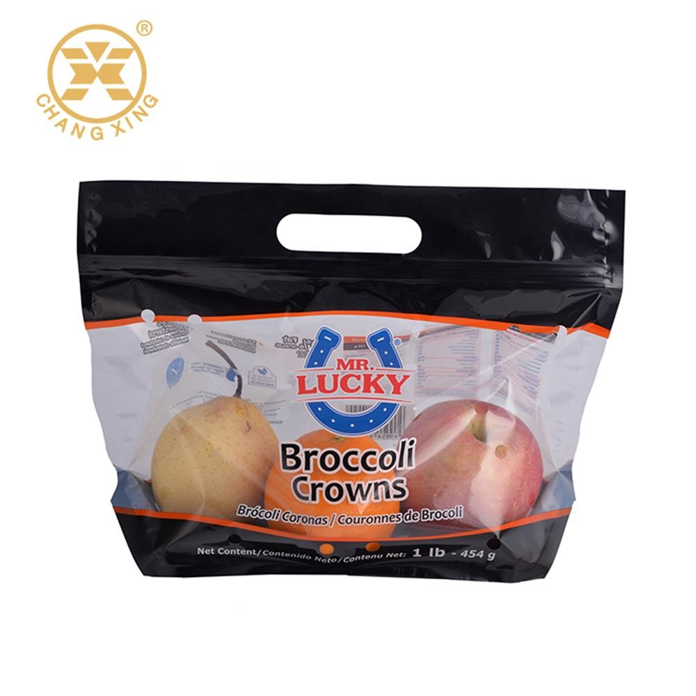 Resealable Fruits And Vegetables Perforated Bags Stand Up Fresh Fruit Pouch With Vent Holes Packing Plastic Zipper Bags