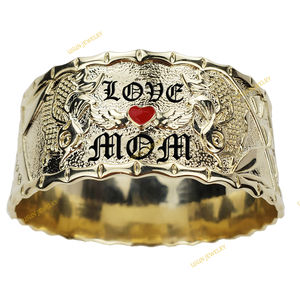 Custom name hawaiian 14K gold plated designer heart enamel wide bangles and bracelets for women jewelry