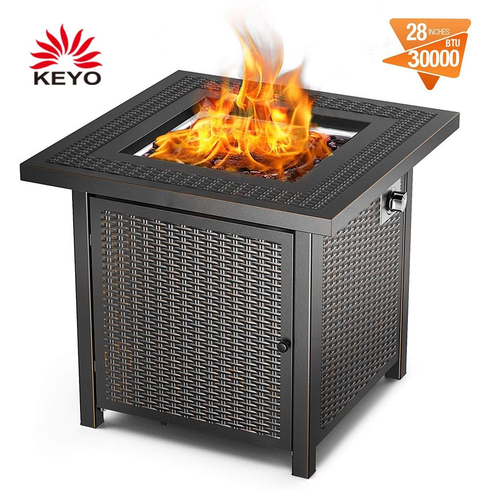 KEYO 28 Inch 50,000 BTU Square Gas Burner Fire Pit Outdoor Propane Gas Fire Pit Table