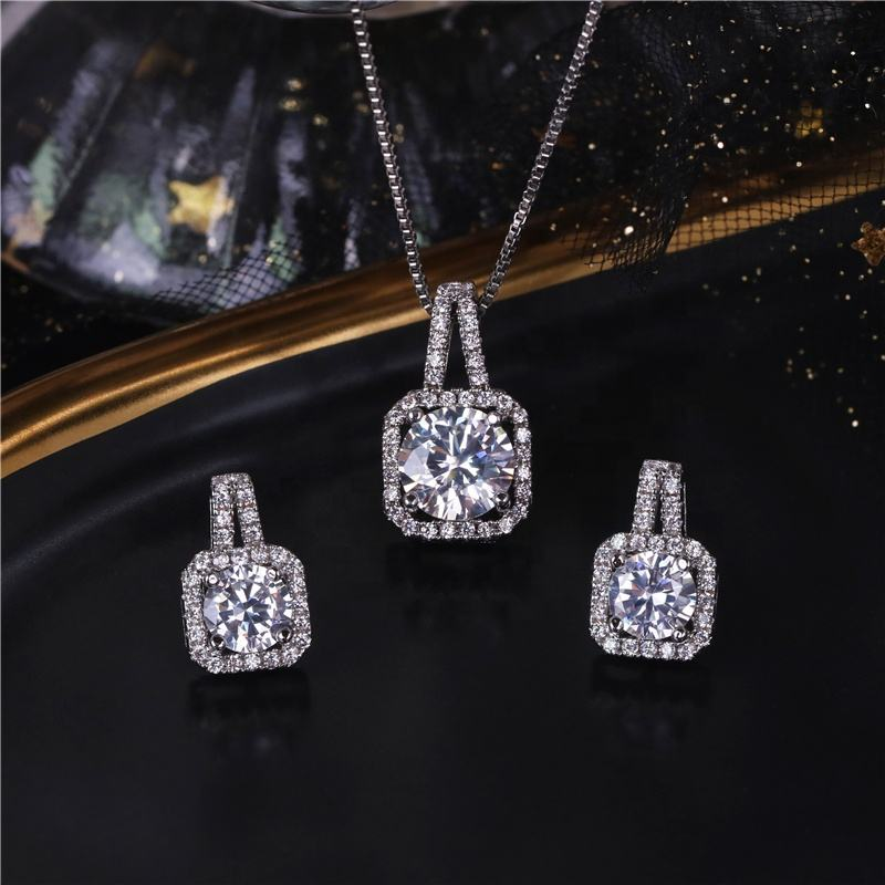2020 white gold plated elegant jewelry set cubic zirconia necklace and earrings sets for women