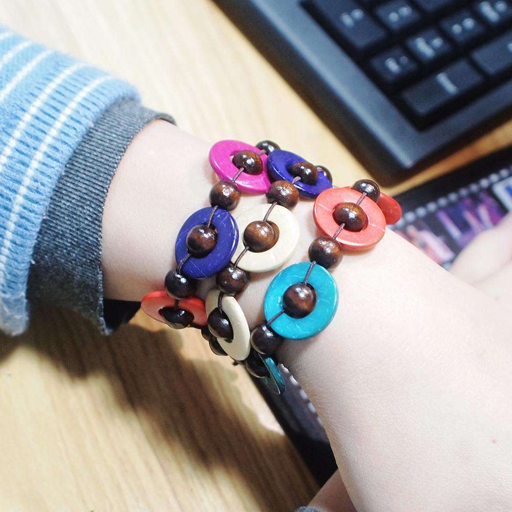 HANSIDON 2020 Bohemian Coconut Wood Bracelet Bangle Stretch Charm Handmade Beaded Bracelets Fashion Jewelry Wholesale
