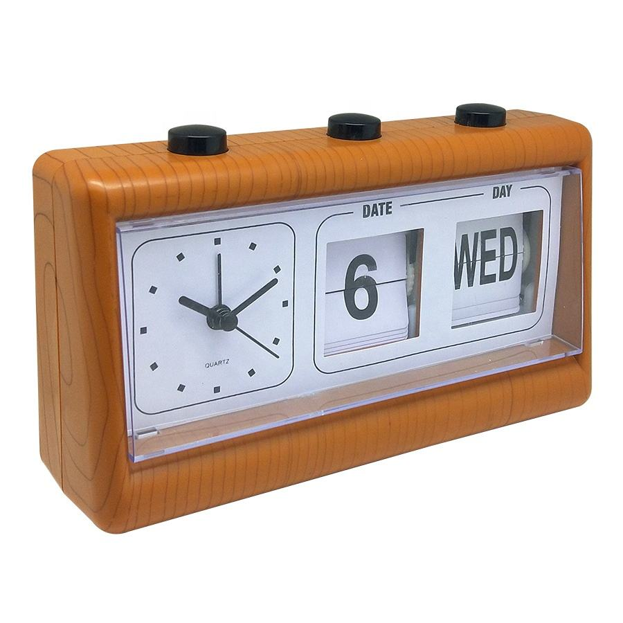 2020 new design Auto Flip Clock automatic calendar clock wooden clock