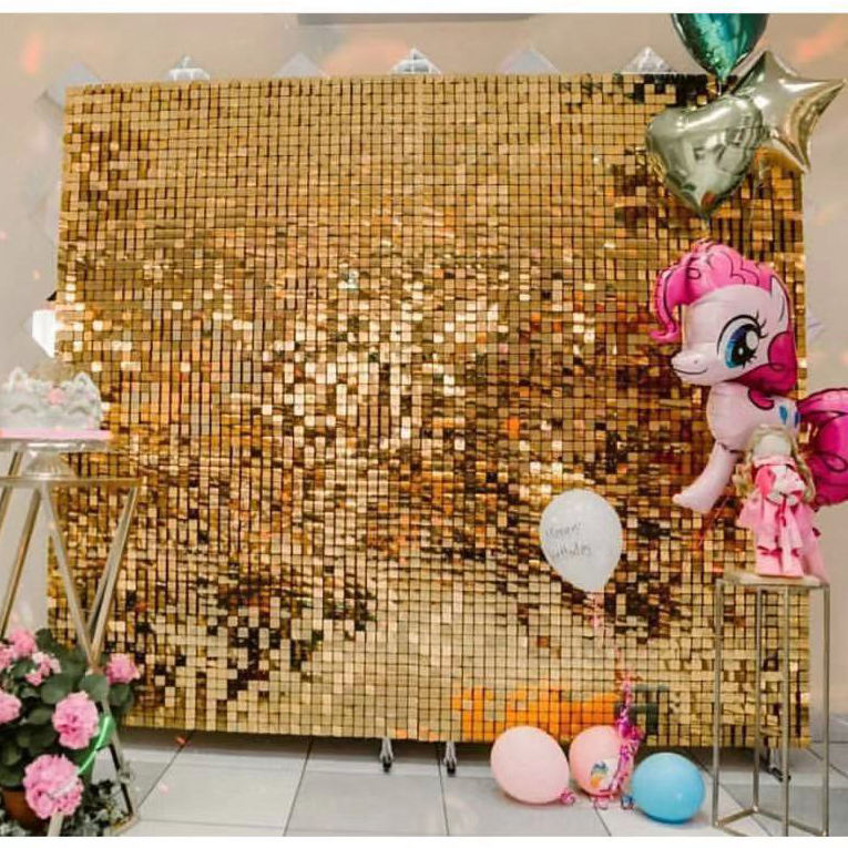 Wedding Decoration Gold Color Sequin Backdrop Sequin Wall Panel Also for Billboard
