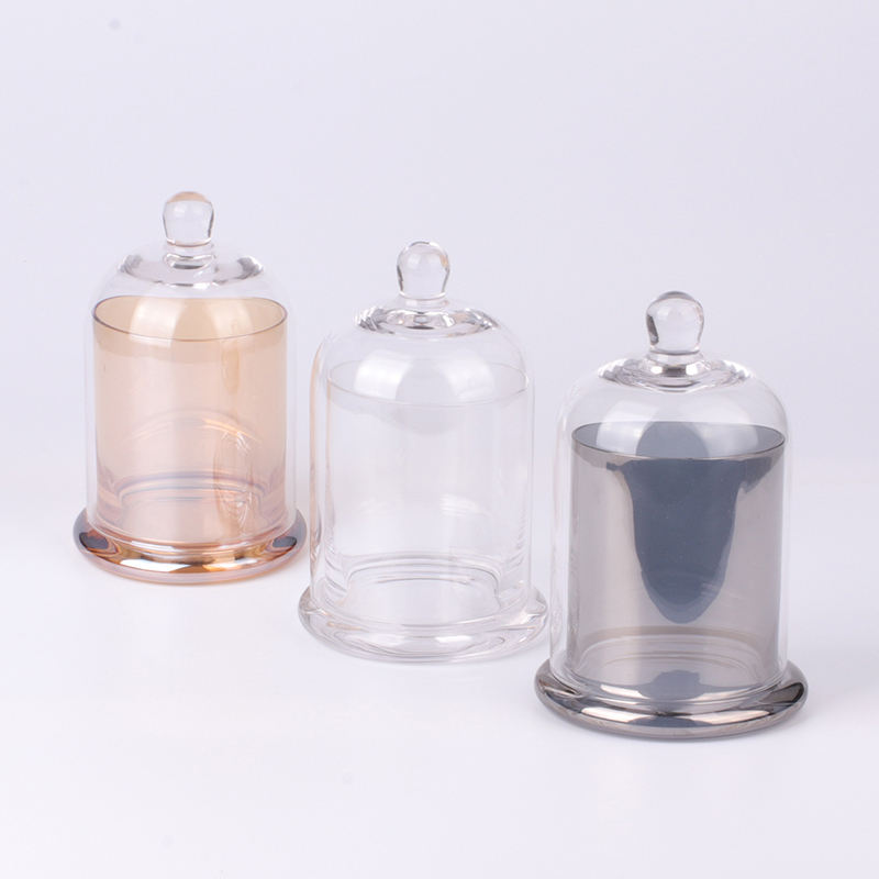 OEM Factory Directly Wholesale Customized Clear Empty Luxury Candle Jars Glass with Dome Lid