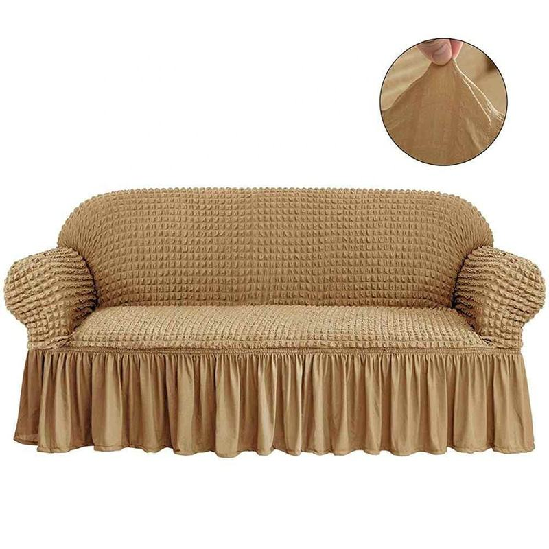 Monad 1 piece Jacquard Easy Fitted High Stretchable Furniture Slipcover Ruffle Sofa Couch Cover