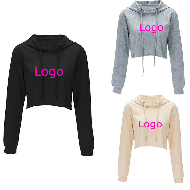 2020 Custom Logo Own Design Winter Wholesale Plain Pullover Sweatshirt Cropped Top Hoodie Manufacturers