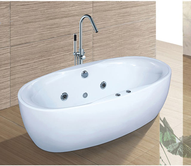 C6003 Luxury overflow hot tub small oval bathtub ofuro bathtub for bathroom fittings