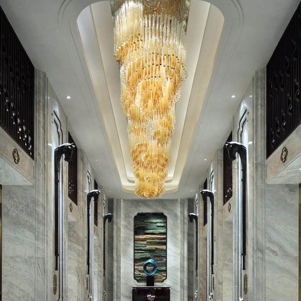 Lighting Manufacturing Guangdong Dengdu Custom Hotel Corridor Golden Elegant Glass Tube Crystal Chandelier Crystal Ceiling Light
