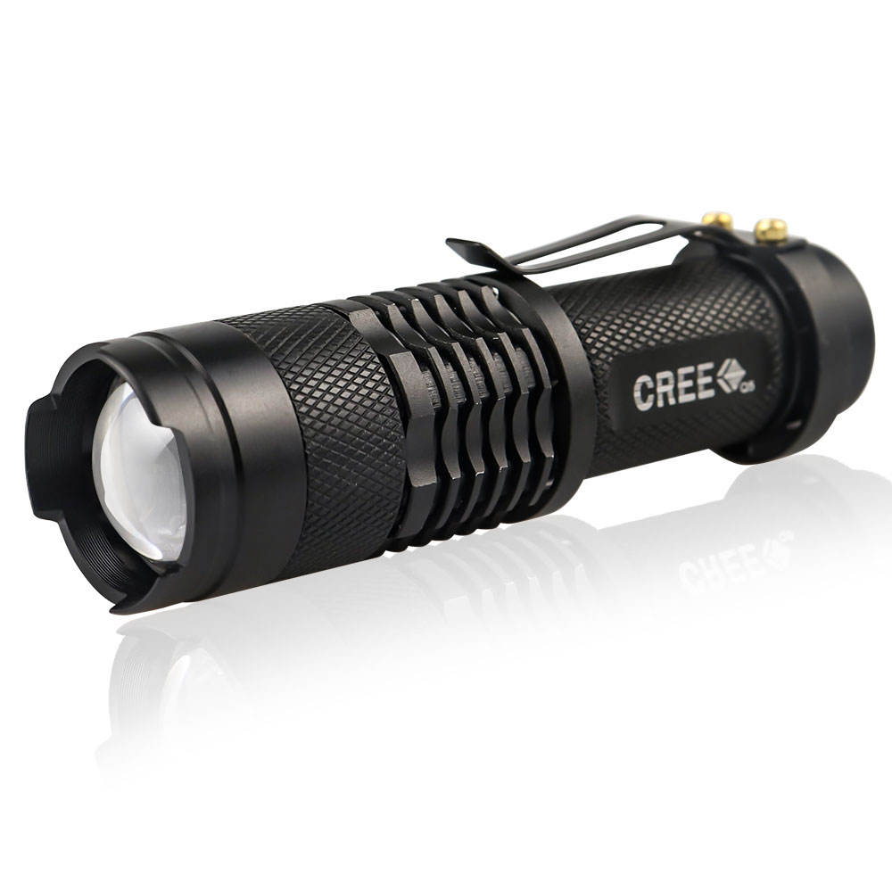 3 Modes Zoomable AA Powered Mini Q5 LED Flashlights for Camping