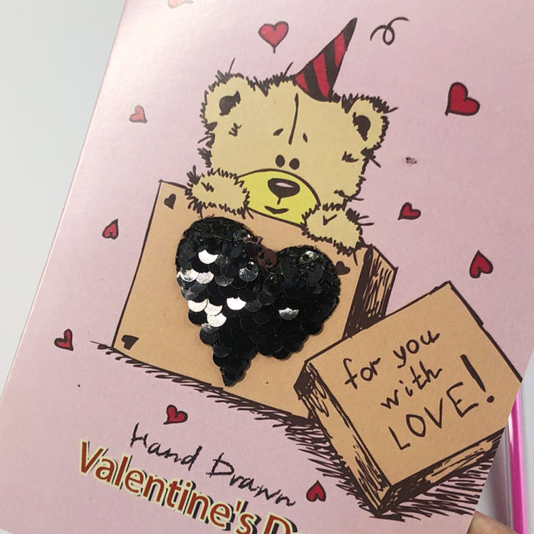 Greeting Card Design BSCI Factory Wholesale Blank 3d Greeting Card Valentine's Day Card With Interesting Sequin Design