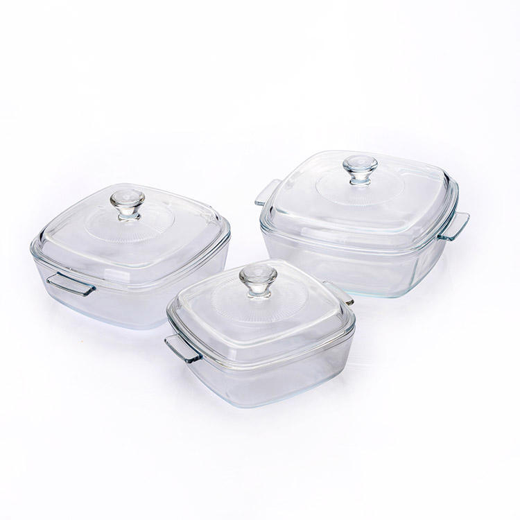 heat resistant tempered Square Glass Casserole Dishes baking bowl soup pot with lids with handle