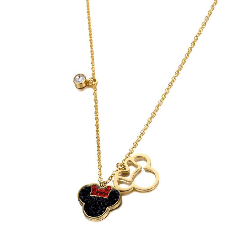 Fashion Jewelry cute necklace stainless steel Mickey Mouse diamond Necklace