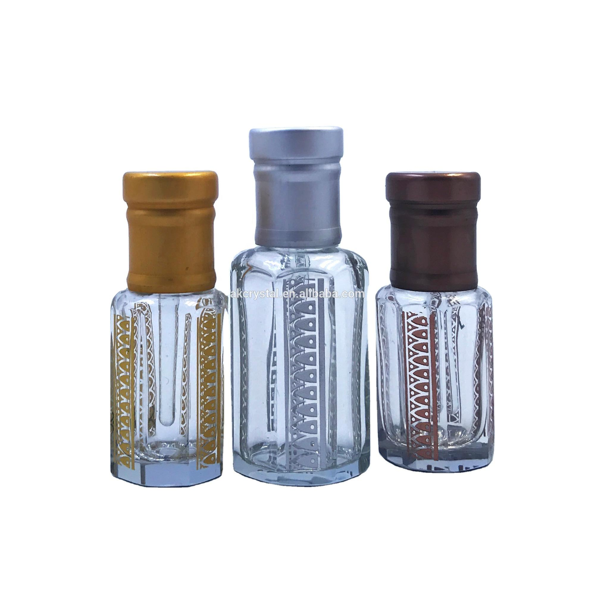Wholesale Octagonal Shape Arabian Oud Attar Perfume Oil Glass Bottle With Glass Stick