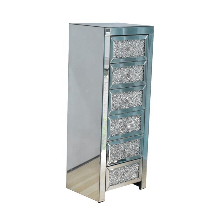 Living Room Furniture 6 Drawer Chest Silver Mirror Crushed diamond storage Cabinet for home hotel