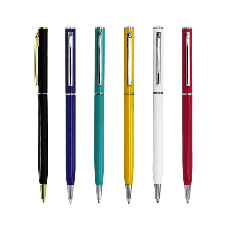 Customized promotional slim twist action metal hotel ball point pen