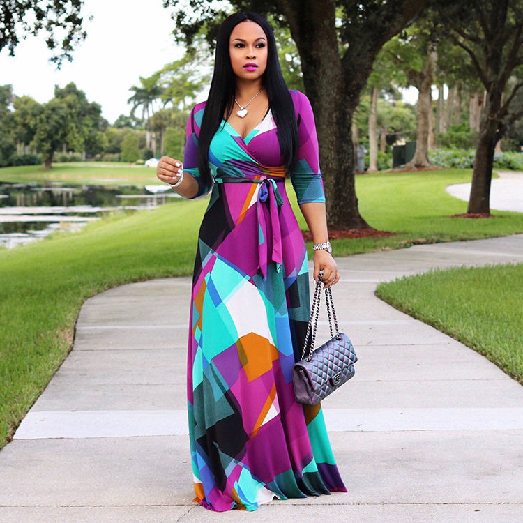 Bohemia Contrast Color Printed Fitted Women Plus Size Maxi Dress