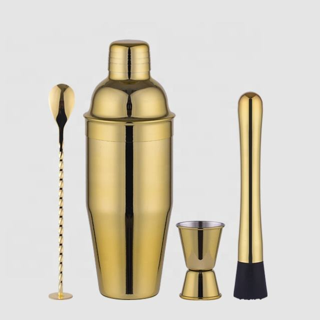 Factory direct 700ml 4 pieces stainless steel gold cocktail shaker set
