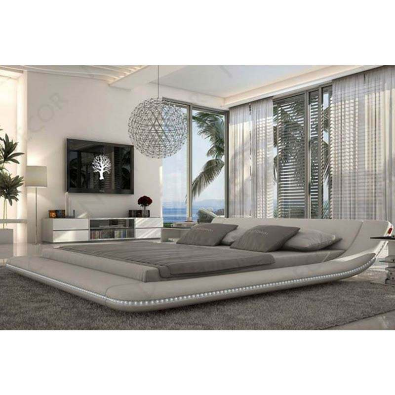 CBMMART di Nuovo disegno 2019 genuine <span class=keywords><strong>bianco</strong></span> LED in pelle <span class=keywords><strong>letto</strong></span> king size in vendita