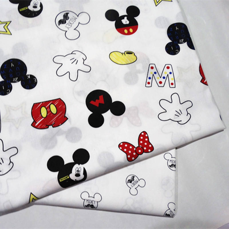 Pretty Mickey words design cotton fabric for digital print white