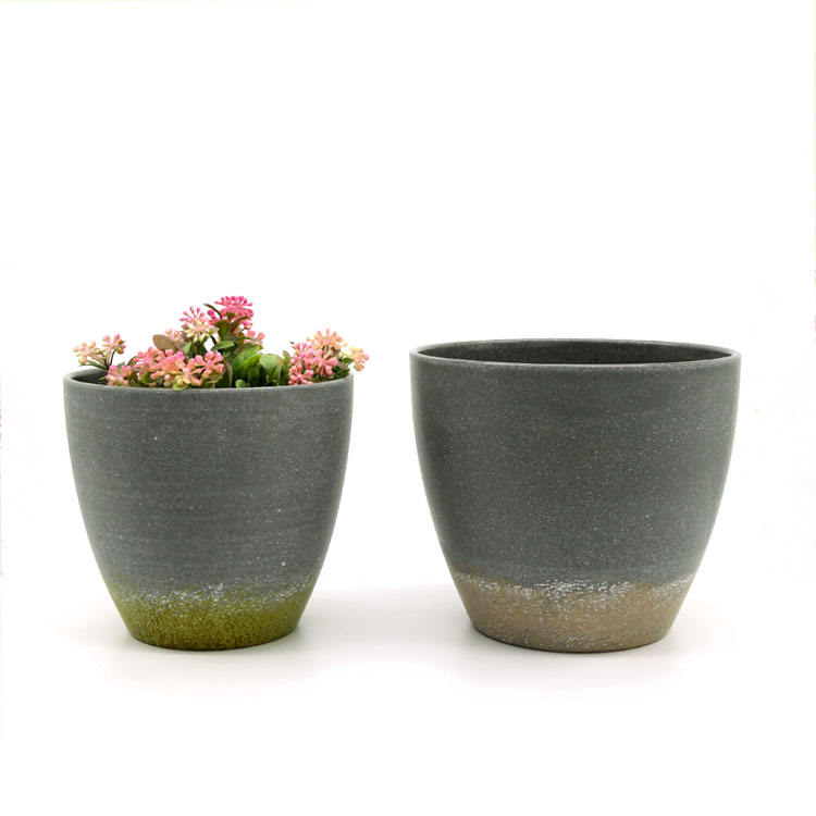 Clay color wide round house eco big plant pots