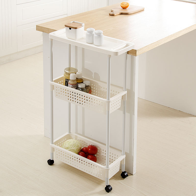 3 Tier Mobile Shelving Unit Organizer Narrow Home Slide Out Tower Slim Kitchen Storage Racks with Three Basket