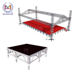 Mobile Portable Event Round Stage for Lighting Truss Stage , Aluminum Stage platform Podium