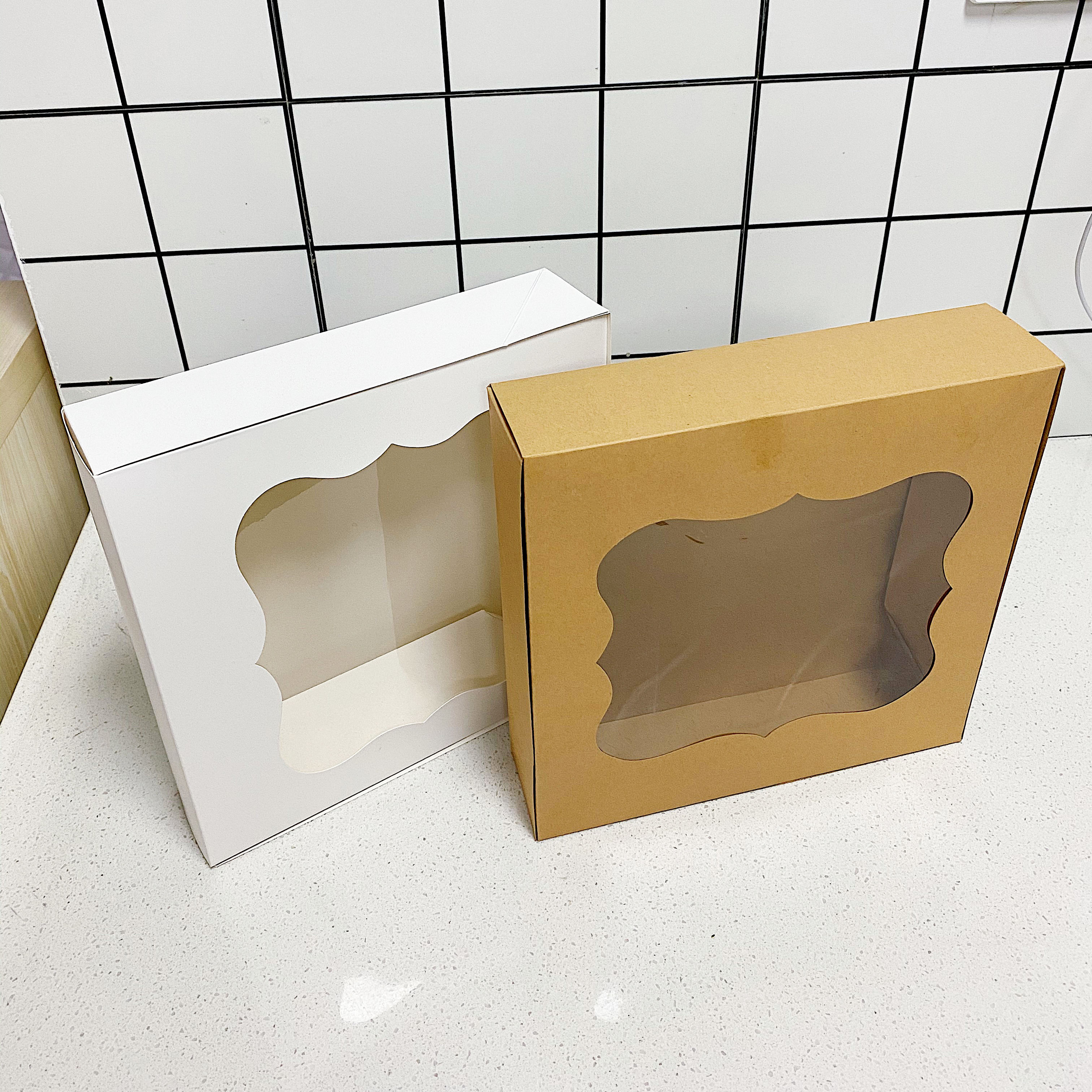 Large Cookie box 10x10x2.5inch Natural Clear Kraft Bakery Pie Boxes With PET Windows