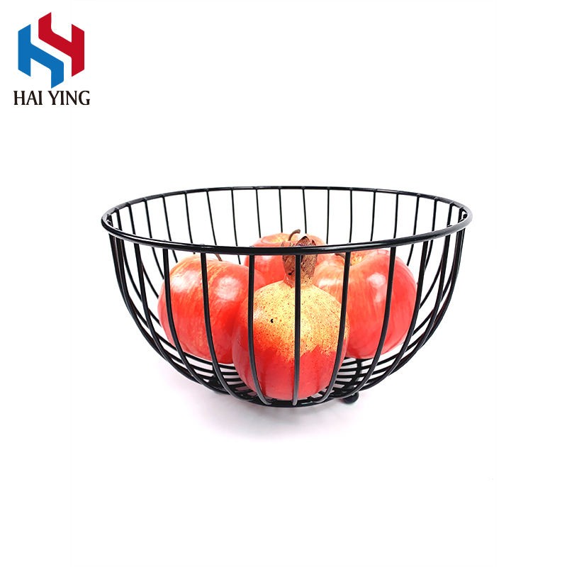 Living Room European Fruit Storage Basket Kitchen Metal Wire Oval Fruit Basket