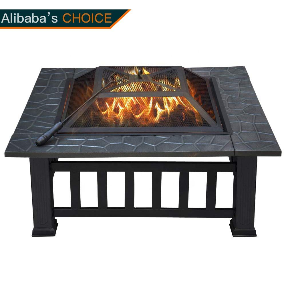 New Upgrade 32 inch Outdoor Garden Wood Burning Square Table Fire Pit