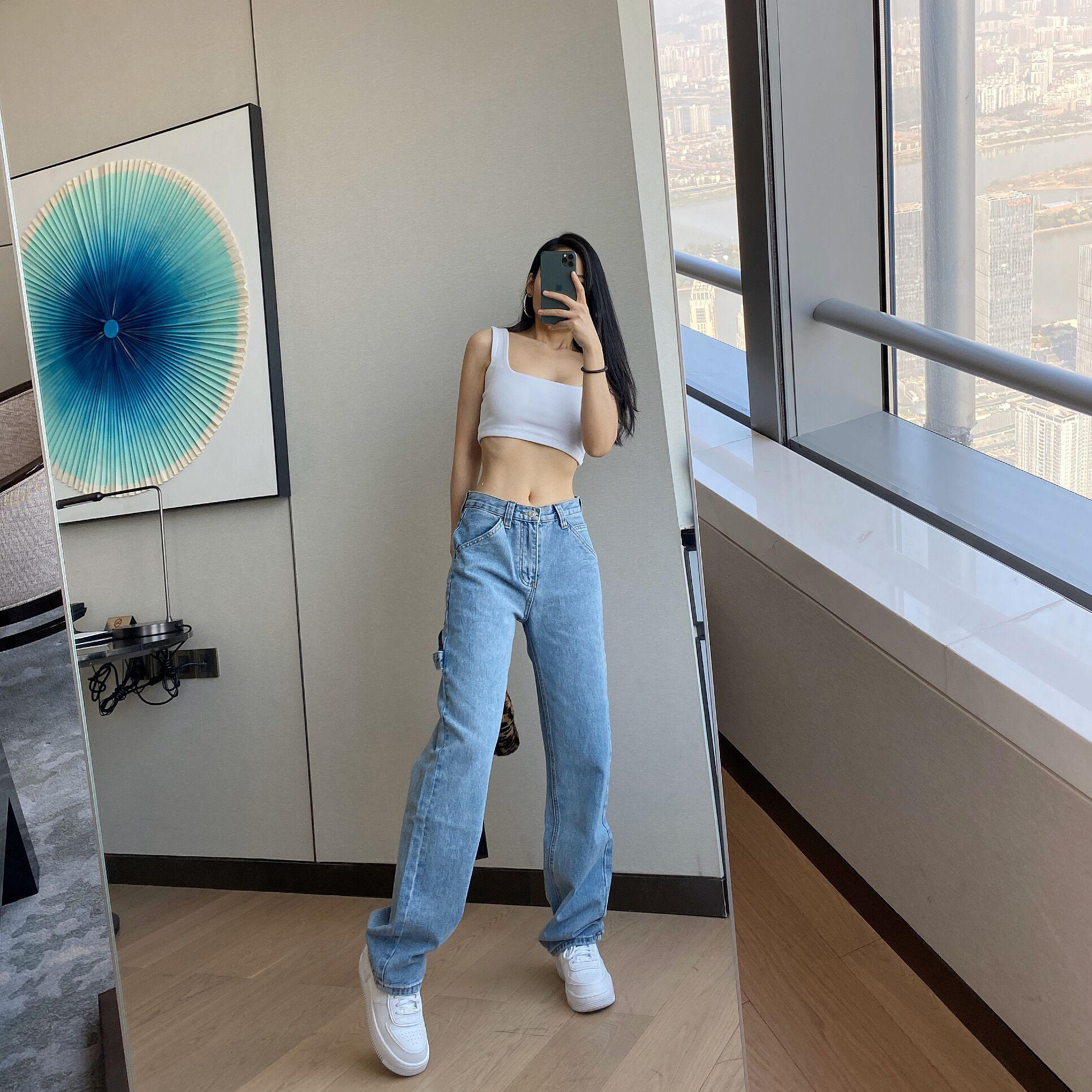 Street High Waist Straight Jeans Women Were Thin And Loose Casual Wide Leg Pants Fashion Boyfriend Style Denim Girlfriend Pants
