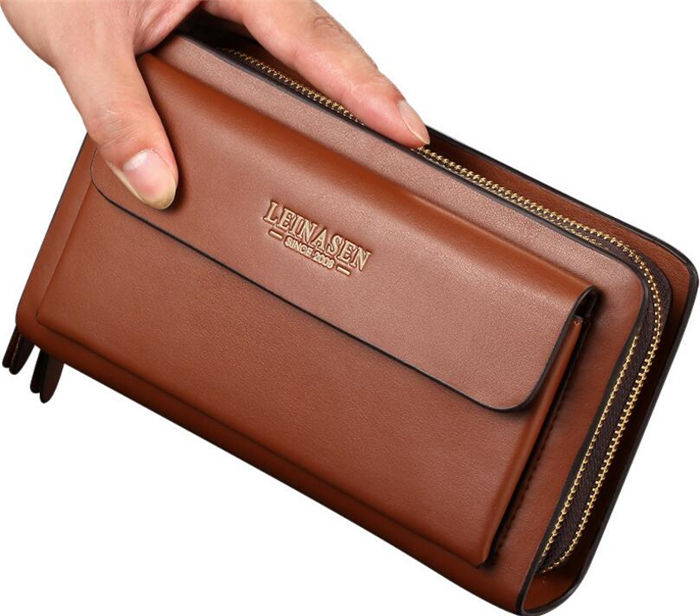 Custom wholesale korean big capacity double zipper long PU leather men's clutch bag wallet