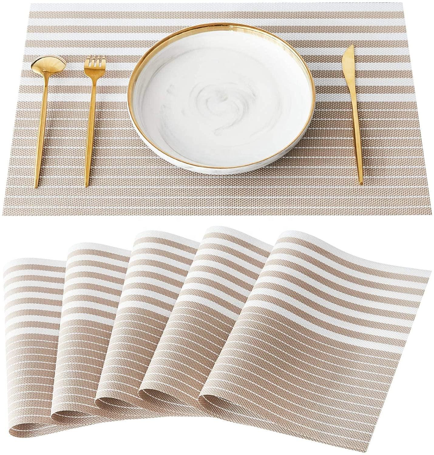 Fast Delivery Cheap PVC Waterproof Heat Resistance Reusable Placemat for Dining Table