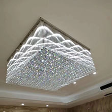 Steel Base K9 Crystal LED Home Square Ceiling Chandelier Light Modern