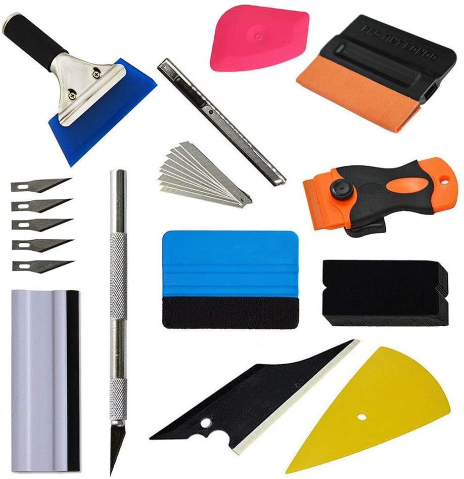Car Window Tint Tool Kit Film Application Vinyl Wrap Film Carbon Fiber Sticker Wrapping Tool Carbon Foil Tinting Squeegee