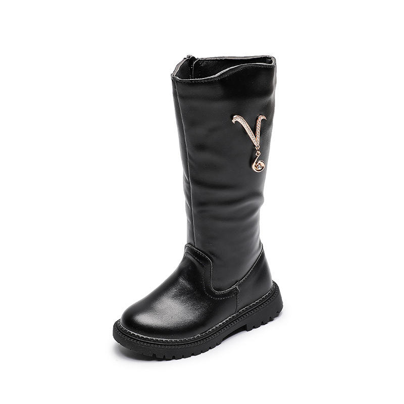 Latest long kids boot for girl V print in bulk children leather boots