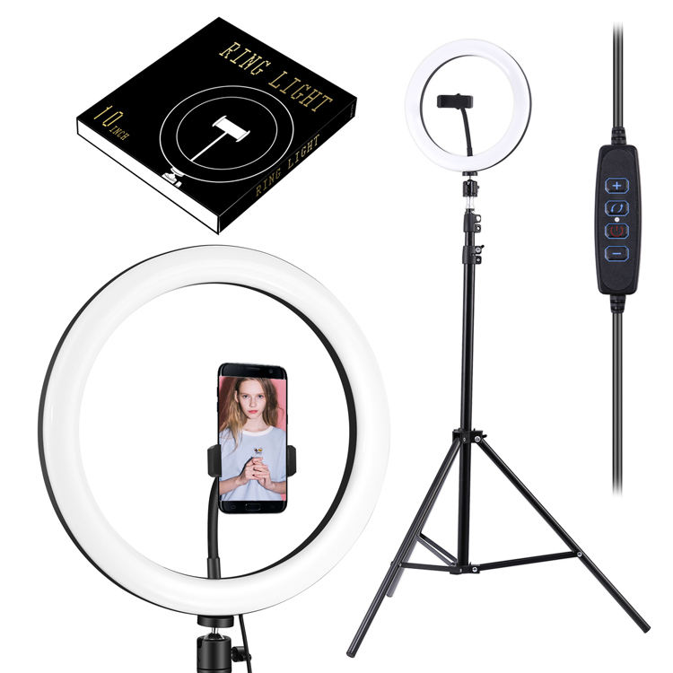 10 inch LED Ring Light Dimmable Ringlight 3200K-5600K Photography makeup Ring Light Lamp