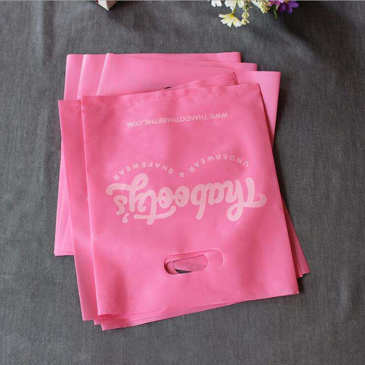 customized plastic bags printed own logo, biodegradable plastic bags pink die cut handle