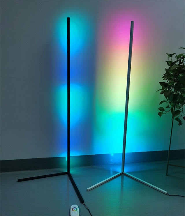 Modern bedroom black led simple RGB floor light color changing minimum corner stand smallest corner floor lamp