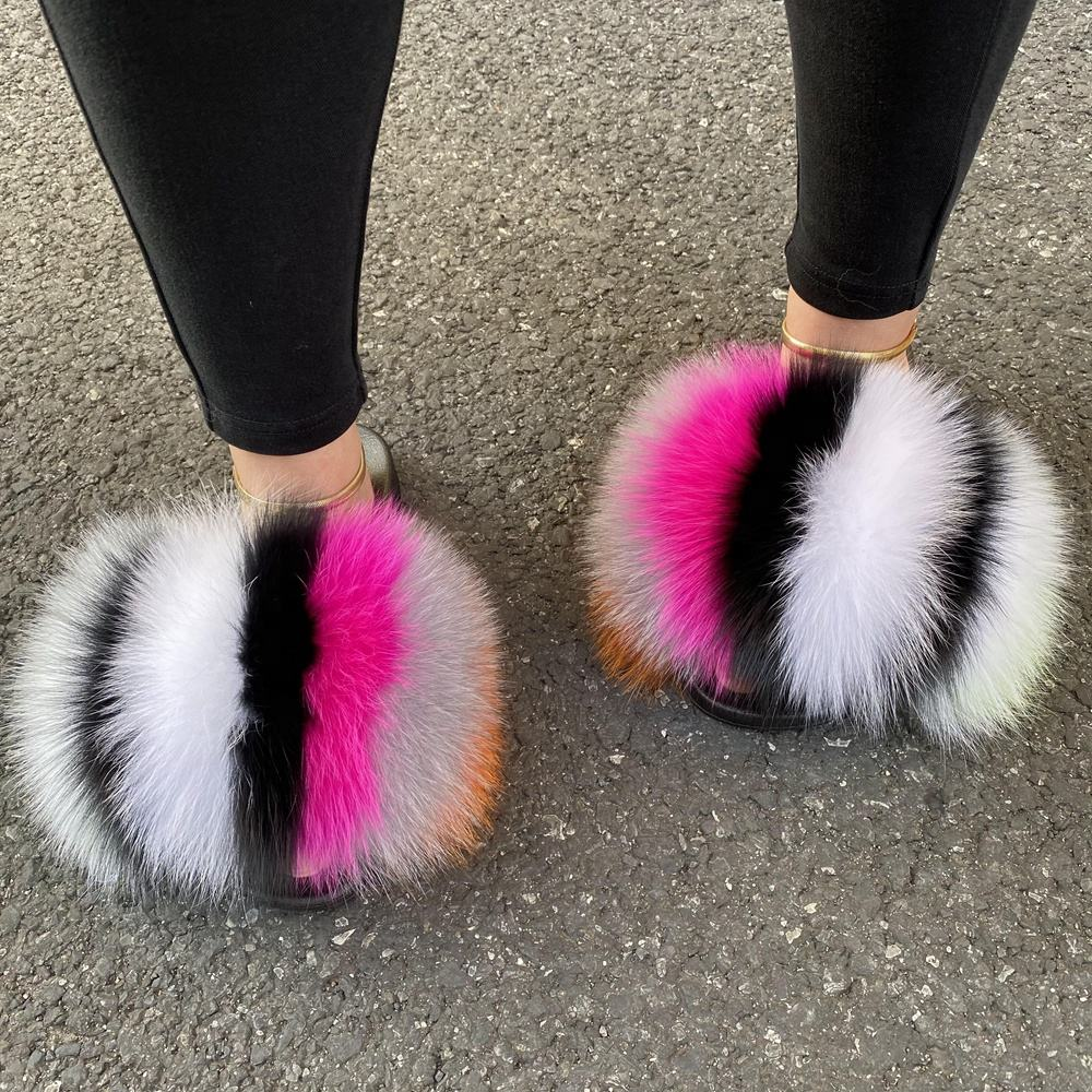 High quality wholesale slider fluffy outdoor sandals furry raccoon fur slippers real soft fox fur slides for women