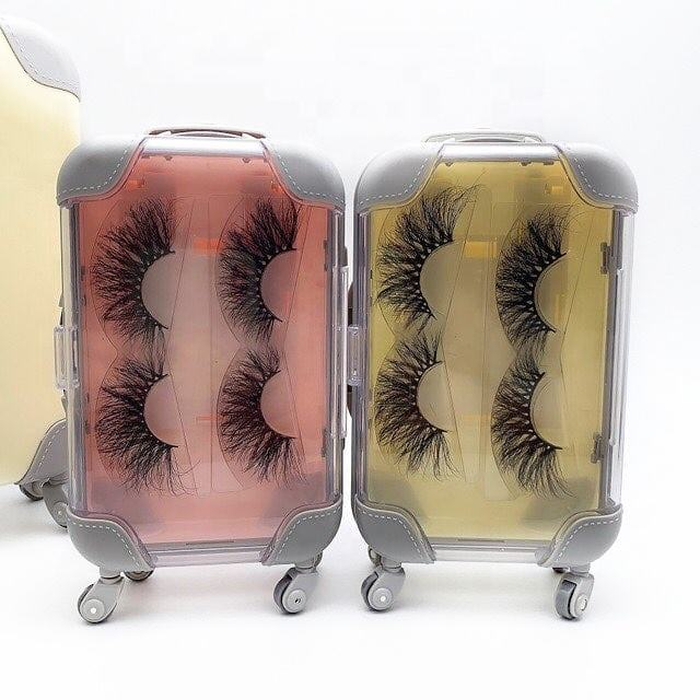 Akara 25mm fluffy 3d mink eyelashes small mini suitcase packaging box real mink lash luggage case