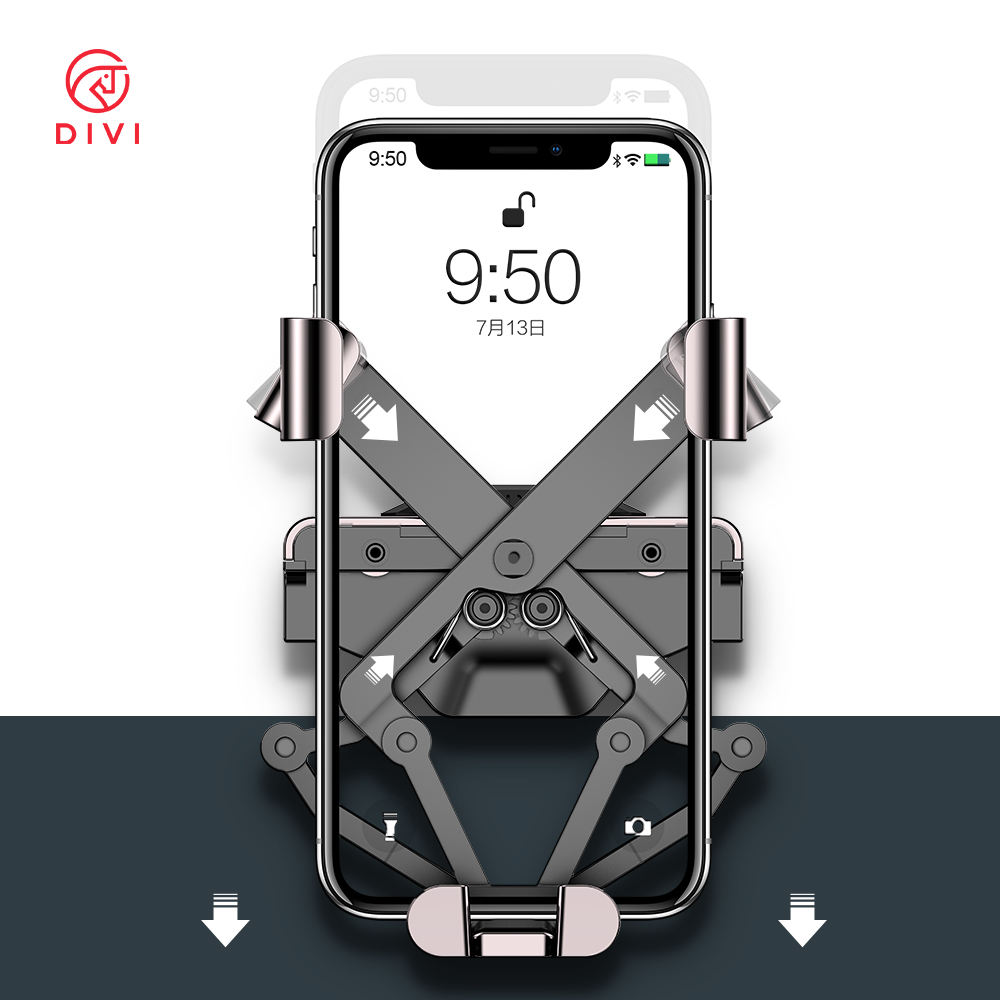 DIVI Gravity Car Phone Holder in Car Air Vent Clip Mount Stand For iPhone X 11 Pro Noiseless Cell Phone Holder for Car