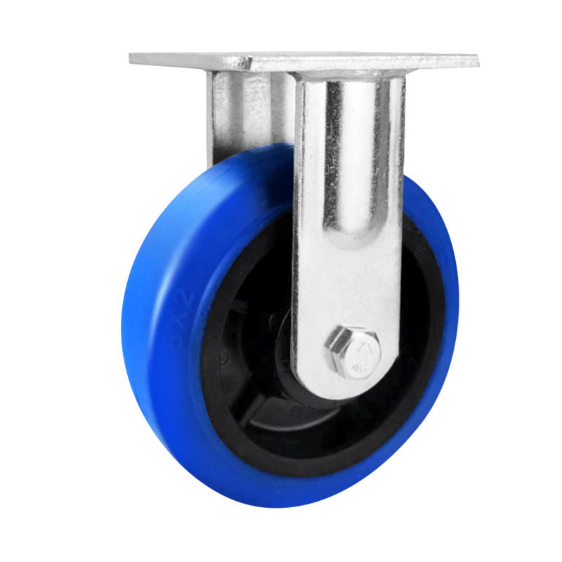 Free sample heavy duty 8 inch blue rubber wheel thickened galvanized bracket universal industrial trolley caster