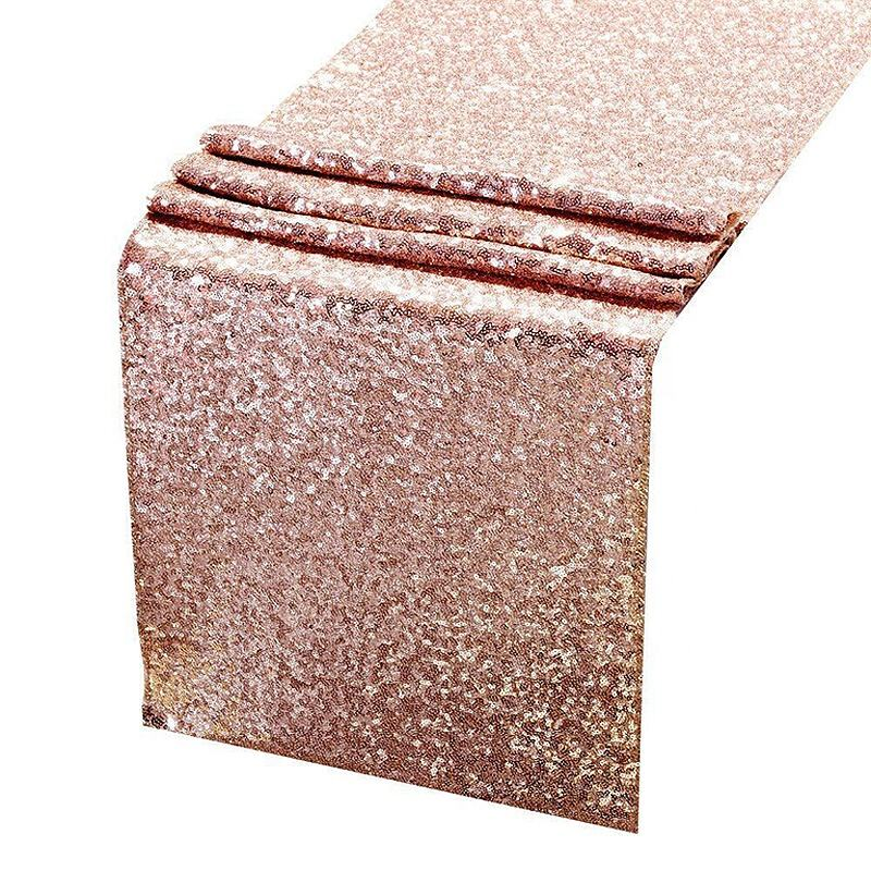 Amazon Hot Sale Linen Rentals 3mm Glitter Rose Gold Sequin Table Cloth Runner Wedding Party Favors for Birthday Event Decoration