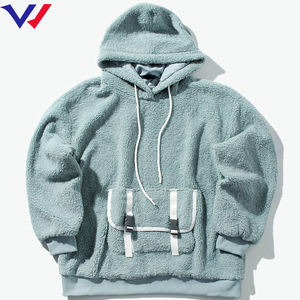 Latest Quality Custom Logo Thick Hoodie Custom Polar Fleece Men Hoodie And Straps Pocket Sweater Pullover Sherpa Hoodie