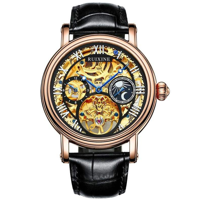 Guangzhou Factory OEM Brand Logo Skeleton Tourbillon Automatic Mechanical Watch Genuine Leather Men Watches