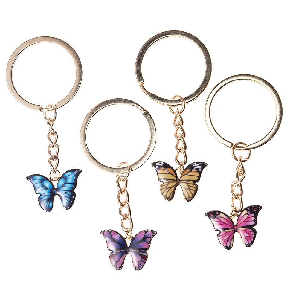 High Quality Alloy Drop Oil Fashion Butterfly keychain Accessories Golden Car Keychain For women men Party Gift